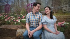 "Nate Stukey as ""Matt"", and Arden Walker as ""Luisa"" in this promotional shot for the Lyric Theatre production of ""The Fantastics"", photographed at the Myriad Botanical Gardens, 3-11-16. (MARK HANCOCK / FOR THE GAZETTE)"