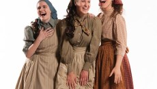 Madeline Dannenberg as Hodel, Jessica Martens as Chava, and Cora Winstead as Tzeitel. Photo by KO Rinearson.
