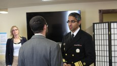 U.S. Surgeon General Vivek Murthy and commissioner Terri White listen as Justin Zagaruyka shares his experience battling addiction during his visit to Catalyst Behavioral Services. | Photo Laura Eastes