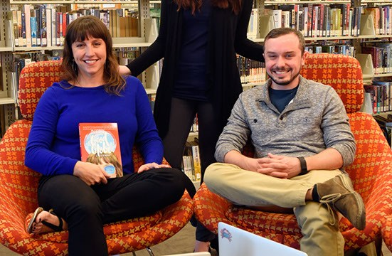 Shelby Simpson, Mary Wuestewald, and Jake McClure of Drunk Publishing at Southwest Oklahoma City Public Library in Moore, Monday, May 2, 2016.  (Garett Fisbeck)