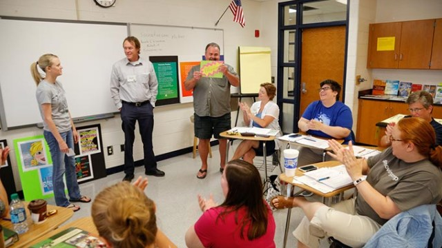 A group makes a presentation during Great Expectations at Edmond North High School, Thursday, June 23, 2016.  (Garett Fisbeck)