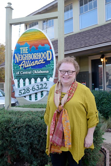 Neighborhood Alliance of Central Oklahoma leader Georgie Rasco  works with neighborhood associations to gather community input about needed city improvements. (Garett Fisbeck)