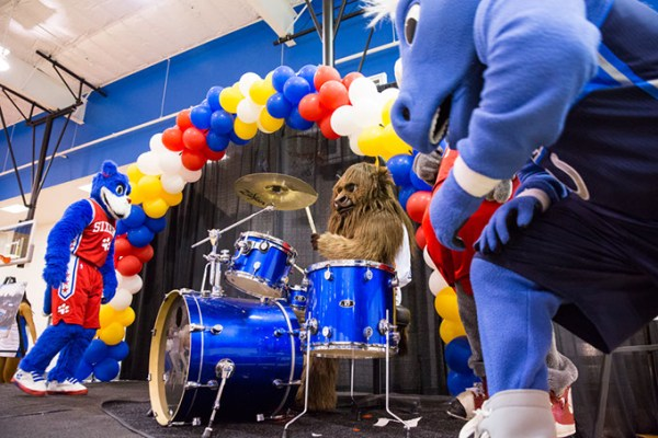 Breakfast with Rumble features entertainment by NBA mascots, the Thunder Girls and Thunder Drum Team. (Zach Beeker / Oklahoma City Thunder / provided)