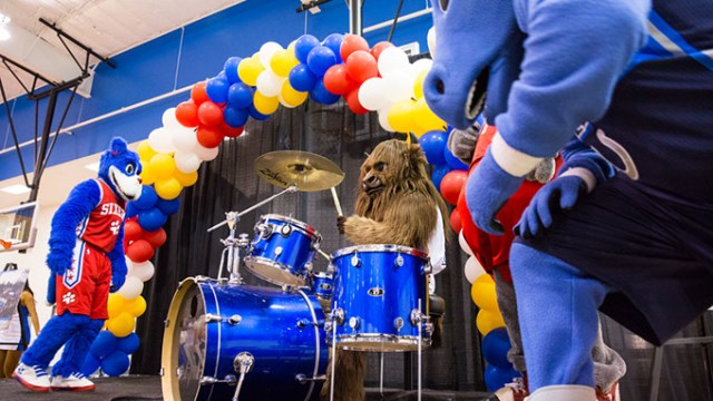 Breakfast with Rumble features entertainment by NBA mascots, the Thunder Girls and Thunder Drum Team. | Photo Zach Beeker / Oklahoma City Thunder / provided