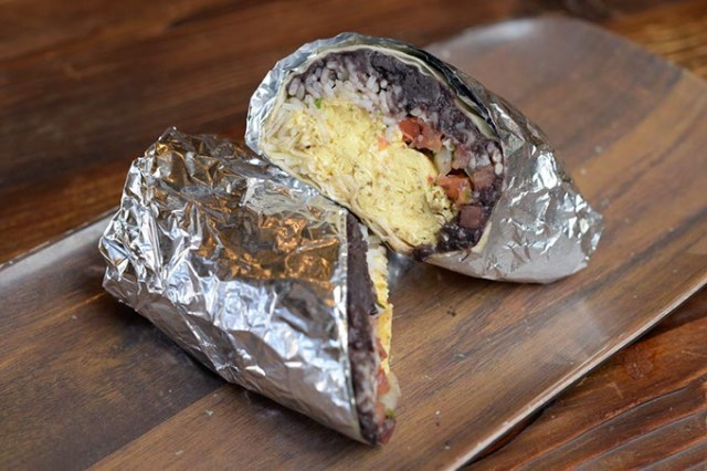 Breakfast burrito with scrambled eggs, pico de gallo, refried black beans, rice and Jack cheese  (Garett Fisbeck)