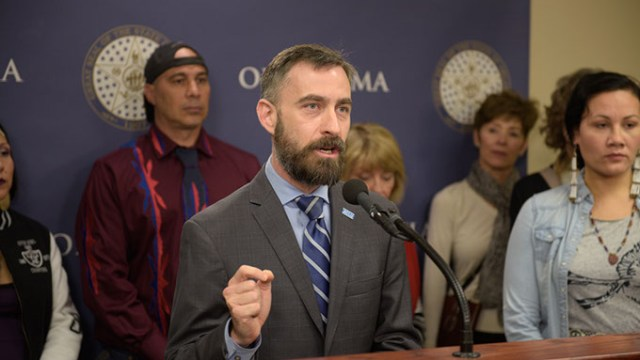 Ryan Kiesel, of ACLU of Oklahoma, speaks during a press conference lead by ACLU and allies dounouncing legislative efforts to silence protestors, at the Oklahoma State Capitol, Wednesday, March 8, 2017.  (Garett Fisbeck)