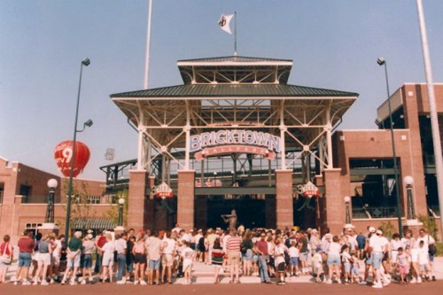 As the city recovered from the oil bust of the '80s and the 1995 Oklahoma City bombing, Bricktown Ballpark drew crowds — and hope — as it spawned urban renewal as the first completed MAPS project downtown. (Oklahoma City Dodgers / provided / file)