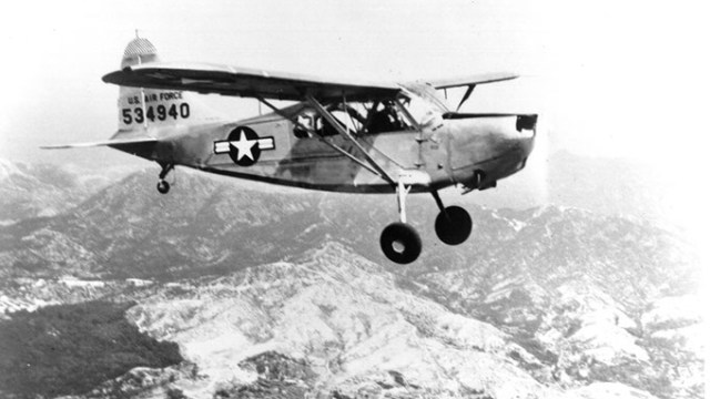Single Vultee USAF L-5 shown in flight. This aircraft is powered by an O-series engine. (Photo courtesy of the Tinker History Office)