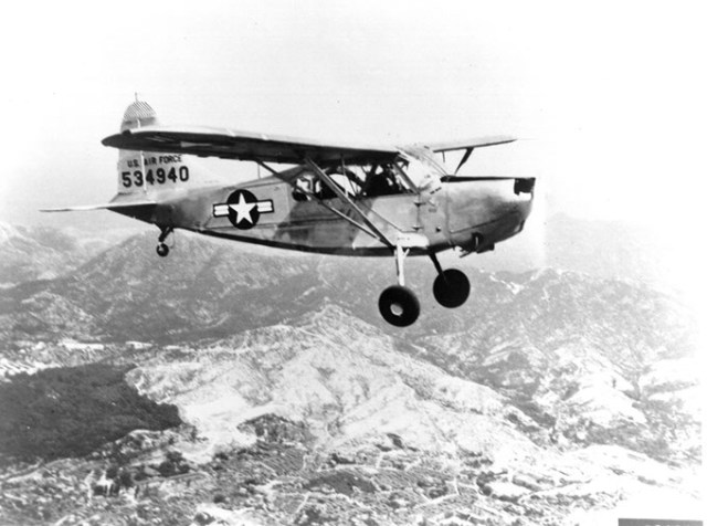 Single Vultee USAF L-5 shown in flight. This aircraft is powered by an O-series engine. (Tinker History Office / provided)