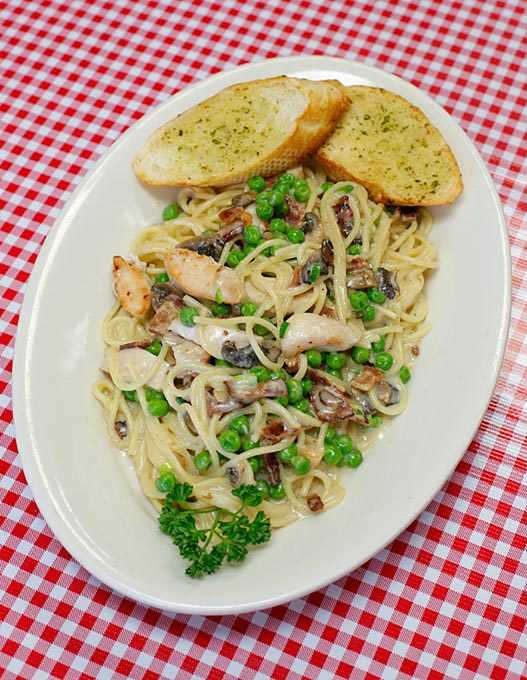 Grilled chicken alla carbonara at Amada's American & Italian Cuisine (Garett Fisbeck)