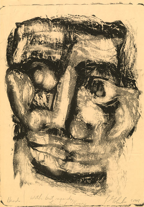 """Head,"" a monotype by Leon Golub (Fred Jones Jr. Museum of Art / provided)"