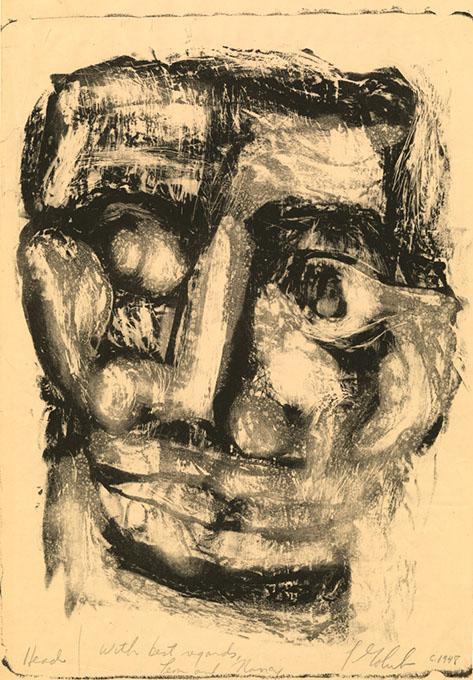 """Head,"" a monotype by Leon Golub (Fred Jones Jr. Museum of Art / provided)"