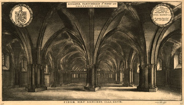 """<em>Ecclesia Parochialis S. Fidis Prospectus Interior</em> (Interior of the Crypt of St. Faith),"" from <em>The History of St. Paul's Cathedral in London</em>, an etching by Wenceslaus Hollar (Fred Jones Jr. Museum of Art / provided)"
