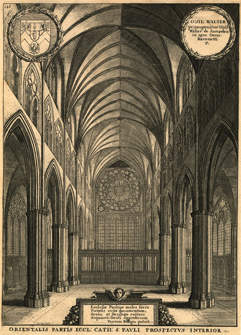 """<em>Orientalis Partis Eccl. Cath. S. Pauli Prospectus Interior</em> (St. Paul's Cathedral, Interior, East End), from <em>The History of St. Paul's Cathedral in London</em>, an etching by Wenceslaus Hollar (Fred Jones Jr. Museum of Art / provided)"