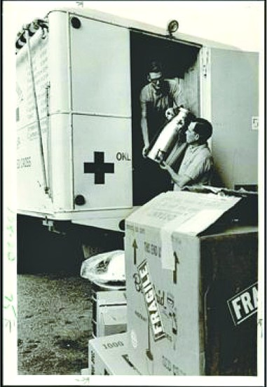 A Red Cross disaster van is loaded for a trip to Texas in this Sept. 18, 1967 file photo. (Hank Mooney / Oklahoma Historical Society / provided)