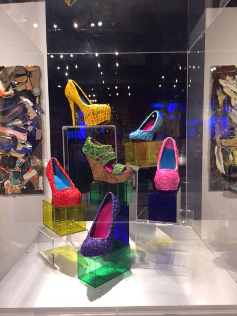 """Walking in Their Shoes"" is artist Gayle Curry's encaustic contribution to Science Museum Oklahoma exhibit Sole Expression: The Art of the Shoe, on display now. (Photo provided)"