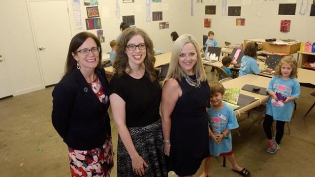 Julia Kirt, Kelsey Karper, and Deborah McAuliffe at an Oklahoma Contemporary summer art camp, Friday, June 23, 2017.  (Garett Fisbeck)