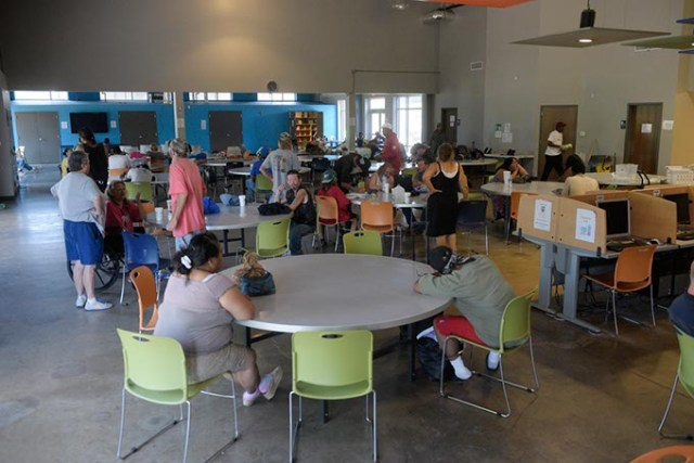 People gathered last week at WestTown Homeless Resource Campus. The 2017 Point-in-Time study found many homeless populations decreased from 2017 to 2016, but the number of homeless families is on the rise. (Garett Fisbeck)