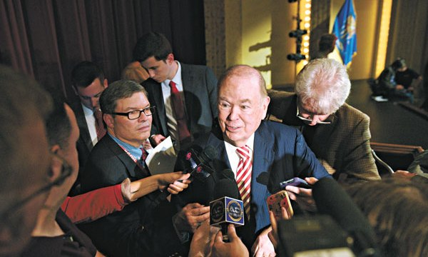 University of Oklahoma President David Boren is swarmed by the media following his announcement to retire. Boren joined the university in 1994 after serving 16 years as a U.S. Senator. | Photo Garett Fisbeck