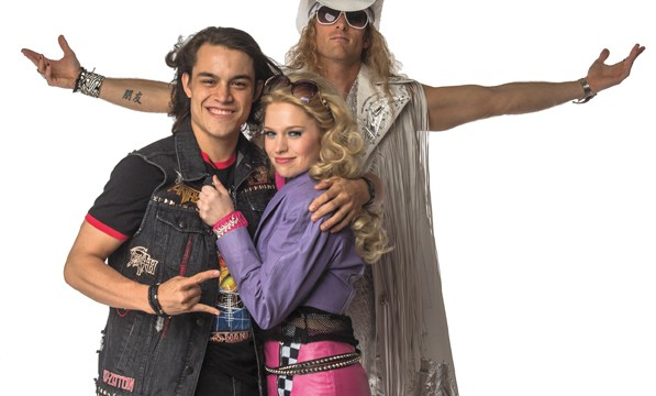 from left Derrick Medrano as Drew, Lauren Urso as Sherrie and Joshua Hobbs as Stacee Jaxx in Lyric Theatre of Oklahoma's Rock of Ages. (KO Rinearson / Lyric Theatre of Oklahoma / provided)