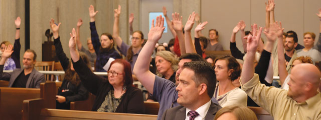 Audience members raise their hands in support of preserving the Donnay Building when asked by Planning Commissioner Janis Powers to do so. (Megan Nance)