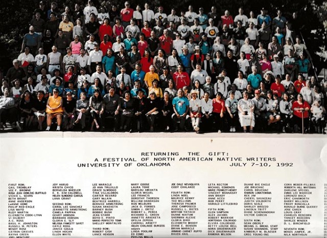 Participating writers for the first Returning the Gift conference gather for a group photo in 1992. (Returning the Gift / provided)