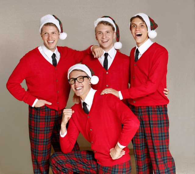 <em>from left</em> Jeremy Small, Owen Whitman, Mitchell Hammond and Gareth Forsberg star in Jewel Box Theatre's <em>Plaid Tidings</em>. (Jim Beckel / Jewel Box Theatre / provided)