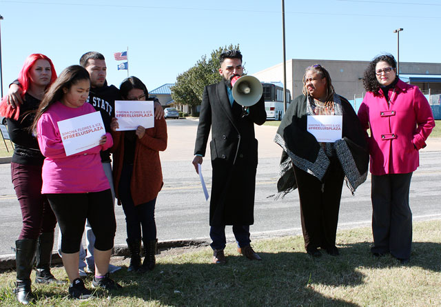 Family and friends of Luis Plaza gathered outside the U.S. Citizenship and Immigration Services office in south Oklahoma City in late October. (Laura Eastes)