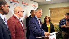 Kirk Humphreys stood at a podium and read a prepared statement apologizing for the remarks he made about gay men on Flashpoint. (Photo Laura Eastes )
