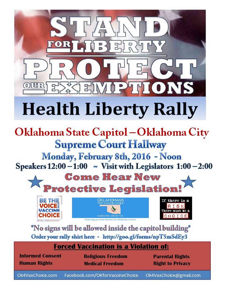 Health Liberty Rally at the Oklahoma State Capitol on Feb 8th at Noon - Stand for Liberty