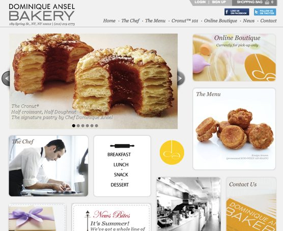 Dominique Ansel Bakery Website