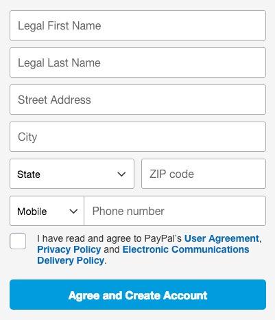 Paypalの登録 ②名前と住所入力
