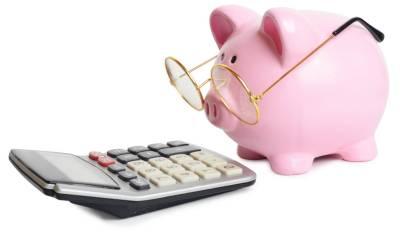 Piggybank and calculator