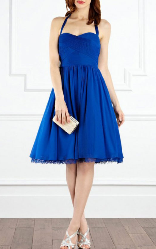 Halter-Knee-length-Royal-Blue-A-line-Polyester-Dresses-16219