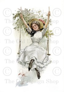 Harrison Fisher, girl on swing, Victorian lady, Edwardian printable art, transfer image