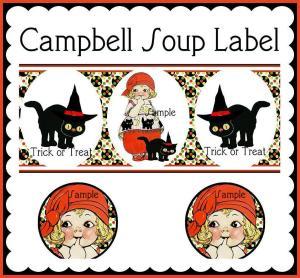 Vintage Halloween Campbell Soup Label Sample
