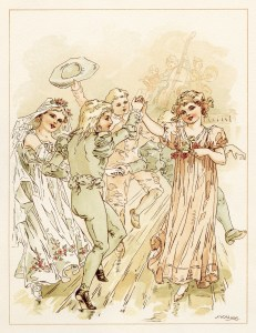 tom tucker bo peep wedding, vintage storybook wedding image, alice wheaton adams art, childrens story page, wedding dance party illustration