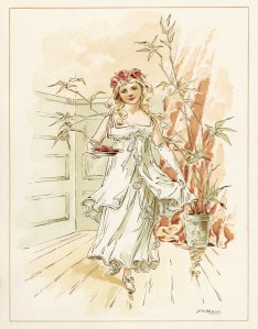 tom tucker bo peep wedding, vintage storybook wedding image, alice wheaton adams art, childrens story page, curly locks bridesmaid