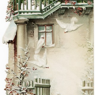 Victorian Card Snowy Building and Doves