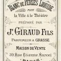 blanc de perles liquide, vintage beauty label, antique French perfume label, J Giraud Fils image, vintage ephemera graphics, old French printable