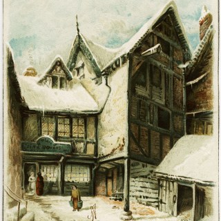 Old Town Scene Christmas Tuck Card