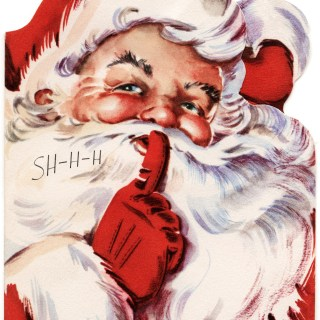 Santa Says Shhh Vintage Christmas Card