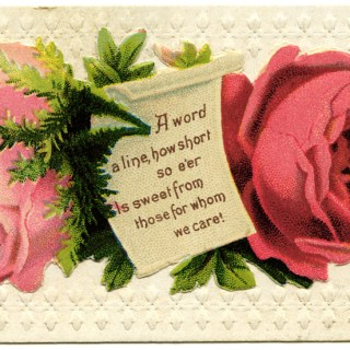 Pink Roses Victorian Calling Card