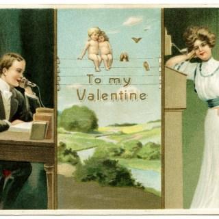 Vintage Valentine Telephone Postcard