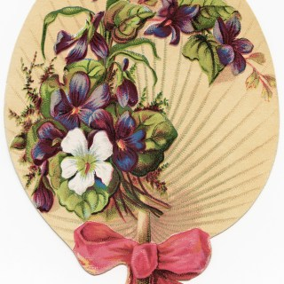 Victorian Floral Fan Shape Card