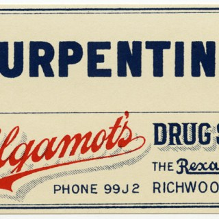 Vintage Drug Store Turpentine Label