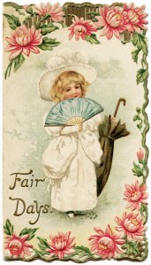 free printable, victorian greeting card, victorian girl, victorian child holding fan and parasol, fair days victorian christmas, floral victorian clipart, free digital public domain image, old design shop, vintage christmas card, antique card, free download, pink flowers card