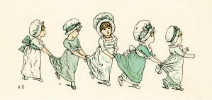 kate greenaway, under the window, circa 1880, vintage children playing, old book illustration, ring the bells poem, free digital clipart, free vintage graphic design, free printable, public domain illustration, old book page, old design shop, free vintage childrens poem, greenaway illustration children