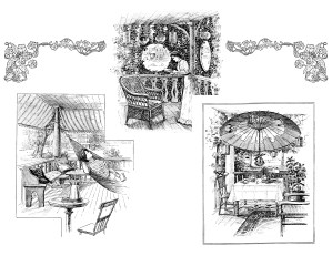 July 1900 magazine article, vintage summer illustrations, free printable, public domain image, free vintage image, free vintage clipart, living outdoors, suggestions for summer weather, old design shop, hammock on porch, outdoor lunch on deck, patio in summer illustrated, old fashioned summer ideas, the designer magazine, antique summer illustration, vintage black and white illustrated summer image