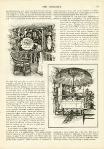 July 1900 magazine article, vintage summer illustrations, free printable, public domain image, free vintage image, free vintage clipart, living outdoors, suggestions for summer weather, old design shop, hammock on porch, outdoor lunch on deck, patio in summer illustrated, old fashioned summer ideas, the designer magazine, antique summer illustration